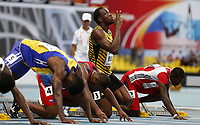 Friidrett<br /> VM 2013 Moskva Russland<br /> 10,08.2013<br /> Foto: imago/Digitalsport<br /> NORWAY ONLY<br /> <br /> Usain Bolt (R2) of Jamaica gestures before the Men s 100 Metres Heats at the 14th IAAF World Athletics Championships Moscow 2013 at Luzhniki Stadium in Moscow, Russia on August 10, 2013. Usain Bolt advanced to the semifinal with 10.07 seconds.