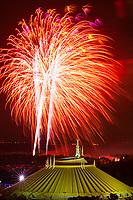 Wishes fireworks show with fireworks over Space Mountain, Magic Kingdom, Walt Disney World, Orlando, Florida USA