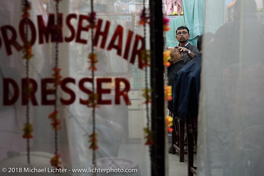 Kathmandu barbershop after our Himalayan motorcycling adventure, Nepal. Friday, November 16, 2018. Photography ©2018 Michael Lichter.