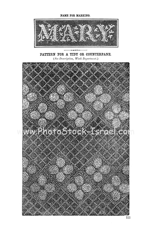 Embroidery name and pattern from Godey's Lady's Book and Magazine, August, 1864, Volume LXIX, (Volume 69), Philadelphia, Louis A. Godey, Sarah Josepha Hale,