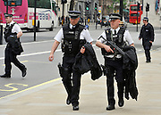 under license to London News Pictures. LONDON, UK  17/05/2011. Armed officers on Whitehall. Police carry out security checks in Whitehall, Central London today (17 May 2011). Please see special instructions for usage rates. Photo credit should read Stephen Simpson/LNP.