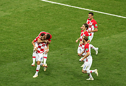 Croatia's Ivan Perisic (bottom left) celebrates scoring his side's first goal of the game during the FIFA World Cup Final at the Luzhniki Stadium, Moscow.