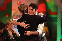 RJ Mitte in the studio during a dress rehearsal for television show The Last Leg at the International Broadcast Centre during the Paralympics Games 2016 in Rio.