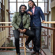 """Authors, Jason Reynolds and Dr. Ibram Kendi at American University, in Washington, D.C.. Jason Reynolds collaborated with Dr. Kendi to modify his book, """"Stamped from the Beginning"""", to create a """"Remix"""" version of the book exploring racism in the United States. Reynolds was recently named the Library of Congress' national ambassador for young people's literature. Dr. Kendi is a 2019 Guggenheim fellow and New York Times best selling author. He is currently the director at the Center for Antiracist Research at Boston University. John Boal for the School Library Journal"""