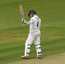 Hampshire Captain James Adams raises his bat after reaching his fifty - Photo mandatory by-line: Robbie Stephenson/JMP - Mobile: 07966 386802 - 27/04/2015 - SPORT - Cricket - Southampton - The Ageas Bowl - Hampshire v Nottinghamshire - County Championship Division One