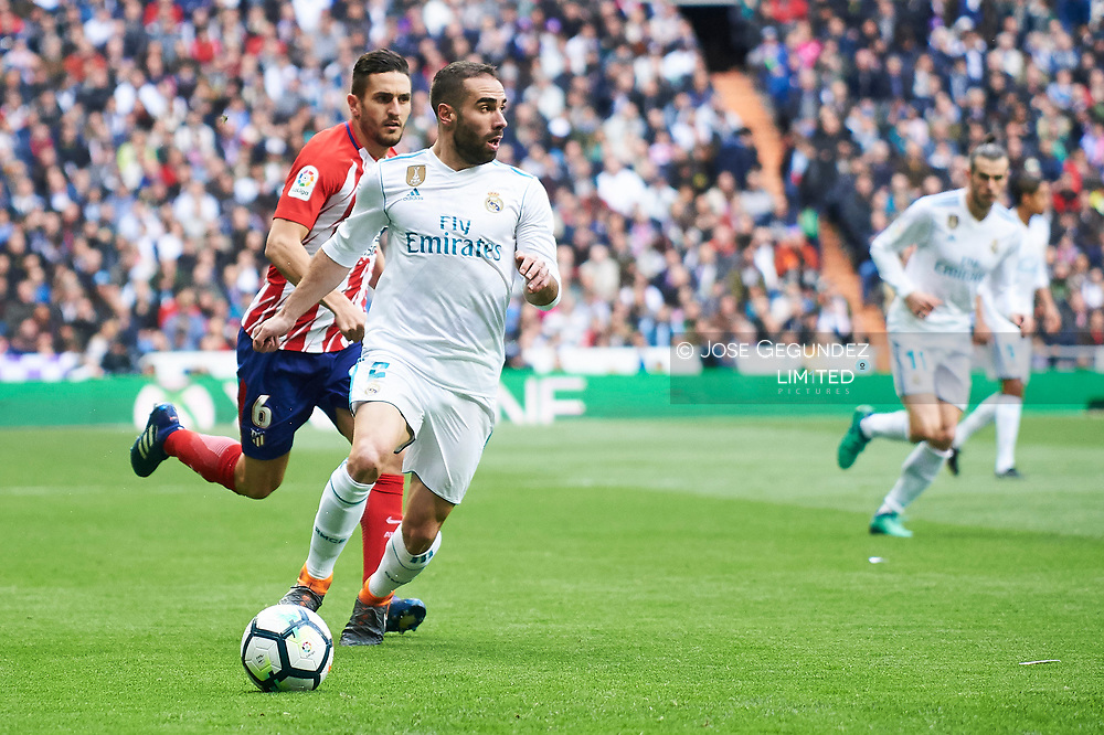 Daniel Carvajal (defender; Real Madrid) in action during La Liga match between Real Madrid and Atletico de Madrid at Santiago Bernabeu on April 8, 2018 in Madrid, Spain
