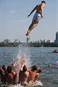 Moscow, Russia, 17/07/2010..Muscovites sunbathing and swimming in lakes in northern Moscow during a prolonged heatwave that has seen temperatures of over 37C, a record for the city.
