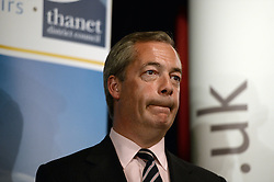 UKIP leader Nigel Farage look upwards as he tries to contain his emotions during the announcement of his defeat to the Conservative candidate Craig MacKinlay in the 2015 South Thanet election count held in the Winter Gardens, Margate. Photo credit: Mary Turner/LNP