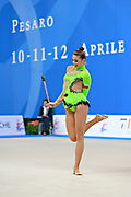 Mickova Monika during qualifying at clubs in Pesaro World Cup at Adriatic Arena on 11 April 2015. Monika was born on July 29, 1991 in Brno. She is individual rhythmic gymnast of Czech Republic.