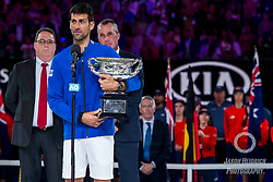 January 27, 2019 - Melbourne, VIC, U.S. - MELBOURNE, AUSTRALIA - JANUARY 27 : Novak Djokovic of ÊSerbia holds his trophy after winning the final on day 14 of the Australian Open on January 27 2019, at Melbourne Park in Melbourne, Australia.(Photo by Jason Heidrich/Icon Sportswire) (Credit Image: © Jason Heidrich/Icon SMI via ZUMA Press)