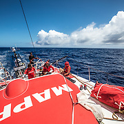 Leg 02, Lisbon to Cape Town, day 13, on board MAPFRE, Guillermo Altadill at the helm, the others, Joan vila, Rob Greenhalgh and Sophie Ciszek. Photo by Ugo Fonolla/Volvo Ocean Race. 17 November, 2017