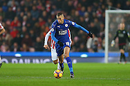 Islam Slimani of Leicester City makes a break. Premier league match, Stoke City v Leicester City at the Bet365 Stadium in Stoke on Trent, Staffs on Saturday 17th December 2016.<br /> pic by Chris Stading, Andrew Orchard sports photography.