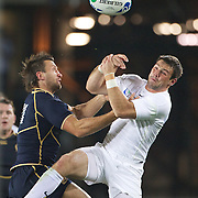Ben Foden, England, (right) and Simon Danielli, Scotland challenge for the ball during the England V Scotland Pool B match during the IRB Rugby World Cup tournament. Eden Park, Auckland, New Zealand, 1st October 2011. Photo Tim Clayton...