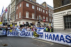 London, UK. 10th June, 2018. Pro-Israel activists hold a counter-protest against the pro-Palestinian Al Quds Day march through central London organised by the Islamic Human Rights Commission. An international event, it began in Iran in 1979. Quds is the Arabic name for Jerusalem.