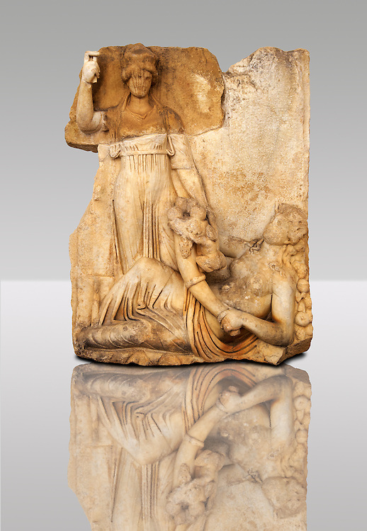 Photo of Roman releif sculpture of Roma & Ge [ Earth ] from  Aphrodisias, Turkey, Images of Roman art bas releifs. Buy as stock or photo art prints. .<br /> <br /> If you prefer to buy from our ALAMY STOCK LIBRARY page at https://www.alamy.com/portfolio/paul-williams-funkystock/greco-roman-sculptures.html . Type -    Aphrodisias     - into LOWER SEARCH WITHIN GALLERY box - Refine search by adding a subject, place, background colour, museum etc.<br /> <br /> Visit our ROMAN WORLD PHOTO COLLECTIONS for more photos to download or buy as wall art prints https://funkystock.photoshelter.com/gallery-collection/The-Romans-Art-Artefacts-Antiquities-Historic-Sites-Pictures-Images/C0000r2uLJJo9_s0