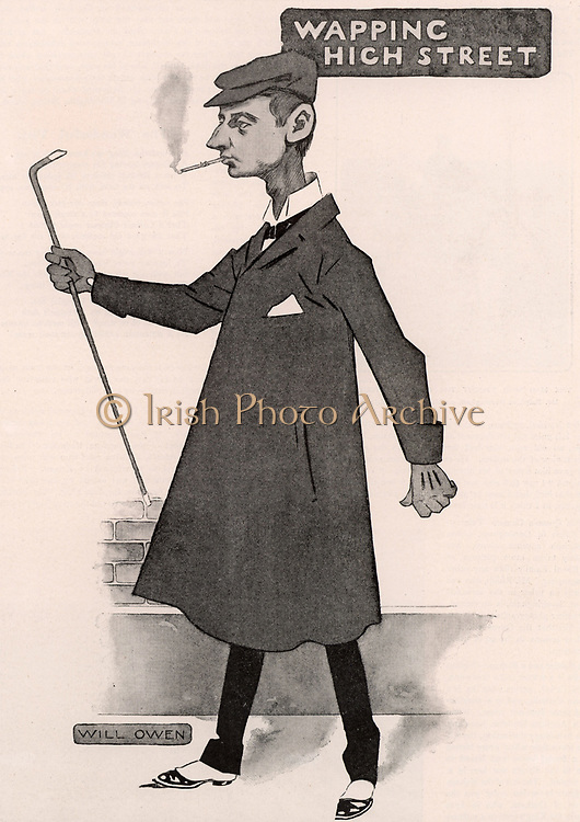 WW Jacobs. Wiliam Wymark Jacobs (1863-1943) English writer, born at Wapping, London, best remembered for his short stories which ranged from the humorous to the macabre such as 'The Monkey's Paw'. Cartoon by Will Owen (1869-1957) published 1902.
