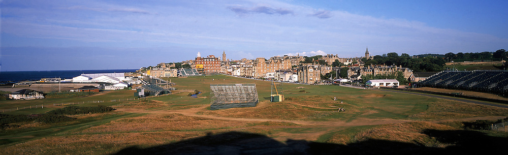 Panoramic Time Lapse Feature on St.Andrews,Old Course,St Andrews,Fife,Scotland.Picture 4,July,2005, The Open Championship, 17th - par 4 'Road Hole',on  the Tuesday following Tiger WOODS (US) victory; the public get back out on the famous links, as the stands and boards come down.