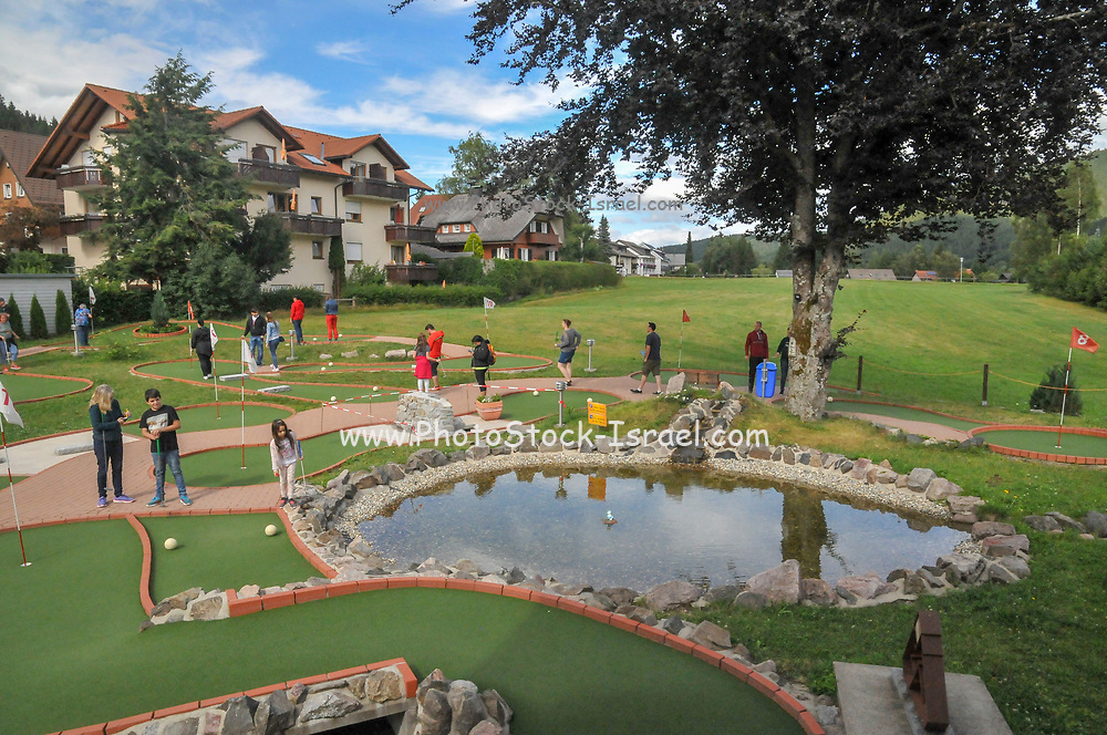 Families putting on a mini golf or putting course