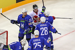 Balazs Sebok of Hungary fighting with Rok Ticar of Slovenia during Ice Hockey match between National Teams of Hungary and Slovenia in Round #3 of 2018 IIHF Ice Hockey World Championship Division I Group A, on April 25, 2018 in Arena Laszla Pappa, Budapest, Hungary. Photo by David Balogh / Sportida