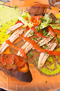 Collioure. Roussillon. Marinated anchovies and red bell pepper as a starter. France. Europe.