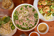 The Moe Pho # Pho Beef Special and the #9 Street Noodles with Shrimp at MOE PHO in downtown Pendleton by Chef Moe Soeum