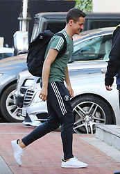 The Manchester United team arrive at The Lowry Hotel on Saturday evening to prepare for their home game against West Brom on Sunday afternoon. Seen: Ander Herrera.