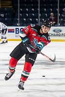 KELOWNA, BC - MARCH 11: Dallon Wilton #15 of the Kelowna Rockets warms up with a shot on net against the Victoria Royals at Prospera Place on March 11, 2020 in Kelowna, Canada. (Photo by Marissa Baecker/Shoot the Breeze)
