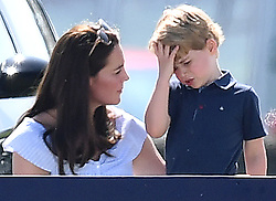 The Duchess of Cambridge, Prince George and Princess Charlotte watch The Duke of Cambridge play in The Maserati Royal Charity Polo Trophy at Beaufort Polo Club, Tetbury, Gloucestershire, UK, on the 10th June 2018. 10 Jun 2018 Pictured: Catherine, Duchess of Cambridge, Kate Middleton, Prince George. Photo credit: James Whatling / MEGA TheMegaAgency.com +1 888 505 6342