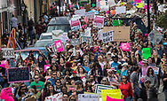 People marching in New Orleans Women's March on January 20, 2018.