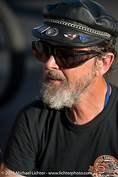 Brian Pease at the end of the day on the Motorcycle Cannonball Race of the Century. Stage-3 from Morgantown, WV to Chillicothe, OH. USA. Monday September 12, 2016. Photography ©2016 Michael Lichter.