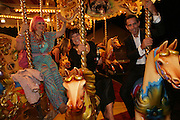 Zandra Rhodes, Hilary Alexander and Ben de Lisi, Moet Mirage, Holland Park. 16 September 2007. -DO NOT ARCHIVE-© Copyright Photograph by Dafydd Jones. 248 Clapham Rd. London SW9 0PZ. Tel 0207 820 0771. www.dafjones.com.