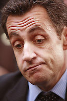 Nicholas Sarkozy, french candidate for  President, after a press conference presenting his program and book, Ensemble, at the Meridien Montparnasse, Paris..April 2, 2007....photograph by Owen Franken.
