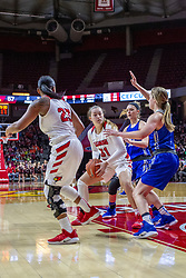 NORMAL, IL - December 20: Tasia Jefferies defends Kayel Newland during a college women's basketball game between the ISU Redbirds and the St. Louis Billikens on December 20 2018 at Redbird Arena in Normal, IL. (Photo by Alan Look)