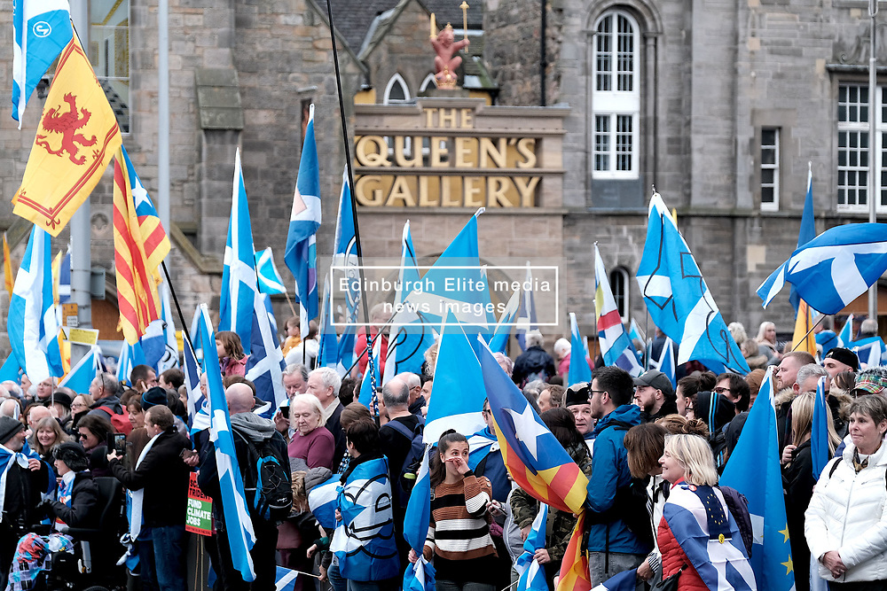 All Under One Banner March, Edinburgh, 5 October 2019<br /> <br /> Pictured: Marchers at the start of the march outside the Queen's Gallery at Holyrood<br /> <br /> Alex Todd | Edinburgh Elite media