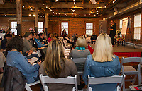 Emily Clement speaker and coach talks to the audience about building good business strategies during CEO Live with JMG Marketing at the Belknap Mill Friday morning.  (Karen Bobotas/for the Laconia Daily Sun)