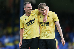 Jed Wallace of Millwall and Jon Dadi Bodvarsson of Millwall see the funny side as Nathan Ralph of Southend United scores an own goal to make it 0-1 - Mandatory by-line: Arron Gent/JMP - 24/07/2019 - FOOTBALL - Roots Hall - Southend-on-Sea, England - Southend United v Millwall - pre season friendly