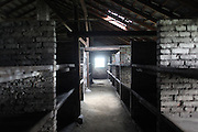 """Children's huts. Auschwitz II Birkenau, Oswiecim Poland ..Roma Holocaust """"Porrajmos"""", the Roma word means literally """"the devouring"""", where it is estimated that between 500 thousand and one and a half million Roma were exterminated across Germany, Poland, ex-Yugoslavia and Czechoslovakia during the 1930s and 1940s. The Roma were the first race to be subjected to experimentation by the Nazis, as part of Joseph Goebbels' 'Final Solution'."""