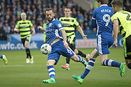 Steven Fletcher (Sheffield Wednesday) takes the first shot of the game, but it is saved during the EFL Sky Bet Championship play off second leg match between Sheffield Wednesday and Huddersfield Town at Hillsborough, Sheffield, England on 17 May 2017. Photo by Mark P Doherty.