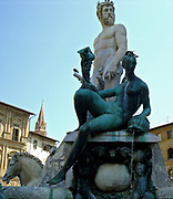 The Fountain of Neptune in the Piazza della Signoria (a square in front of the Palazzo Vecchio) Florence, Italy. It was commissioned in 1565 and is by the sculptor Bartolomeo Ammannati, the design however was done by Baccio Bandinelli before he died. The sculpture is made from Apuan Marble, and is meant to represent the Florentine dominion over the sea. It was commissioned for a wedding, and the face of Neptune resembles that of Cosimo I de'Medici, Duke of Florence/Grand Duke of Tuscany, and father of the groom.