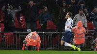 Football - 2018 / 2019 Premier League - Tottenham Hotspur vs. Burnley<br /> <br /> Christian Eriksen (Tottenham FC)  sinks to his knees as he celebrates scoring in the 92nd minute at Wembley Stadium.<br /> <br /> COLORSPORT/DANIEL BEARHAM