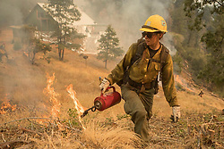 July 28, 2018 - California, U.S. - A Tahoe Hotshot lighting during burn operation. The Ferguson Fire now in its 20th day, started July 13 on the Sierra National Forest. The fire is now 62,883 acres with 39 percent containment and 3,558 personnel that are currently engaged on the fire which include 203 engines, 43 water tenders, 14 helicopters, 95 crews, 5 masticators and 62 dozers. There has been 2 fatalities and 9 injuries to date. 1 structure has been destroyed. (Credit Image: © Rubicon/Cal Fire via ZUMA Wire/ZUMAPRESS.com) (Credit Image: © Rubicon/Cal Fire via ZUMA Wire/ZUMAPRESS.com)