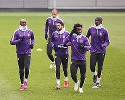 Manchester City's Wilfred Bony and his team mates are pictured during the training session at the Etihad Campus ahead of the UEFA Champions League second leg match against FC Barcelona - Photo mandatory by-line: Matt McNulty/JMP - Mobile: 07966 386802 - 17/03/2015 - SPORT - Football - Manchester - Etihad Campus - Barcelona v Manchester City - UEFA Champions League