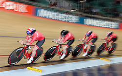 Team Breeze (left-right) Jenny Holl, Abigail Dentus, Jessica Roberts and Rebecca Raybould, on their way to qualifying 1st in the Women's Team Pursuit, during day two of the HSBC UK National Track Championships at The National Cycling Centre, Manchester.