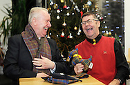 Grassmarket Community Project<br /> <br /> Social Justice Secretary Alex Neil visited  the Grassmarket Community Project in Edinburgh today (Thursday December 17) to highlight the vital role of Scotland's third sector. <br /> <br /> Pic caption:<br /> Social Justice Secretary Alex Neil has a laugh with Michael Deignan, who is a volunteer working on the tartan social enterprise.<br /> <br /> The Grassmarket Community Project provides sanctuary and support to vulnerable people through its community café, woodwork and tartan social enterprises, and a wide range of social integration and educational activities which are aimed at enhancing life skills and developing confidence. <br /> <br /> <br />  Neil Hanna Photography<br /> www.neilhannaphotography.co.uk<br /> 07702 246823