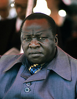 President Idi Amin, President of Uganda and military dictator. He is seen here at the state funeral of President Kenyatta of Kenya in Nairobi, Kenya in September 1978. Photographed by Terry Fincher