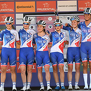 FDJ-Nouvelle Aquitaine-Futuroscope (Fra) photocall at Prudential RideLondon Classique at the Mall on 28 July 2018, London, UK