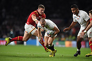 Scott Williams of Wales tries to stop Mike Brown of England. Rugby World Cup 2015 pool A match, England v Wales at Twickenham Stadium in London, England  on Saturday 26th September 2015.<br /> pic by  Andrew Orchard, Andrew Orchard sports photography.