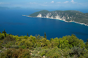Views around Exogi, Ithaca, Greece. Ithaca, Ithaki or Ithaka is a Greek island located in the Ionian Sea to the west of continental Greece. Ithacas main island has an area of 96 square kilometres. It is the second-smallest of seven main Ionian Islands.