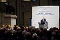 """03 AUG 2009, BERLIN/GERMANY:<br /> Frank-Walter Steinmeier, SPD, Bundesaussenminister und Kanzlerkandidat, Veranstaltung der Karl-Schiller-Stiftung zum Thema """"Die Arbeit von morgen - Politik fuer das naechste Jahrzehnt"""", Baerensaal, Altes Stadthaus<br /> IMAGE: 20090803-02-035<br /> KEYWORDS: Deutschland-Plan, Rede, speech"""