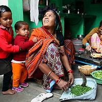 Asia, India, Khajuraho. Local village family in their home in Khajuraho, India.